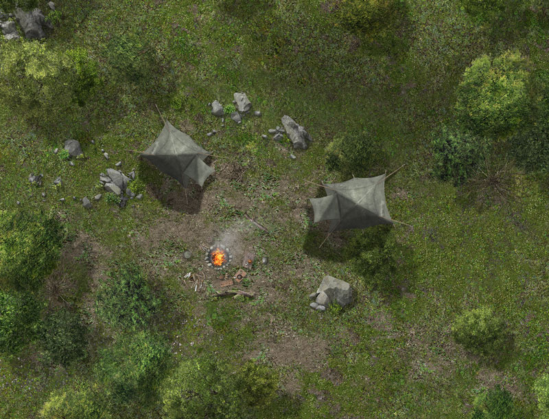 Camp of SG-1 mission to planet - name to be determined in associated story. The tents are Not Air Force issue. They're camp assets from an RPG artist.